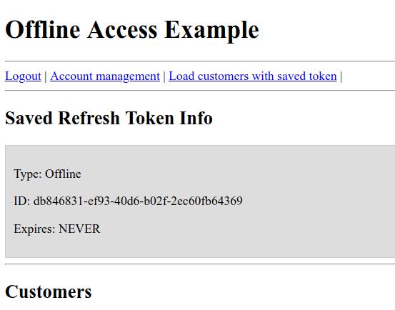 Examples of offline token usage in Keycloak